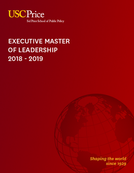 2018 - 2019 USC Executive Master of Leadership Brochure