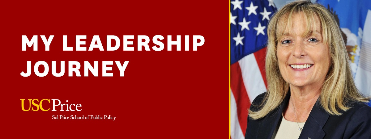Carol Geffner, director of the Executive Master of Leadership program interviews Joy White, Executive Director of the Space Missile System Center at the Los Angeles Air Force Base about her leadership journey.