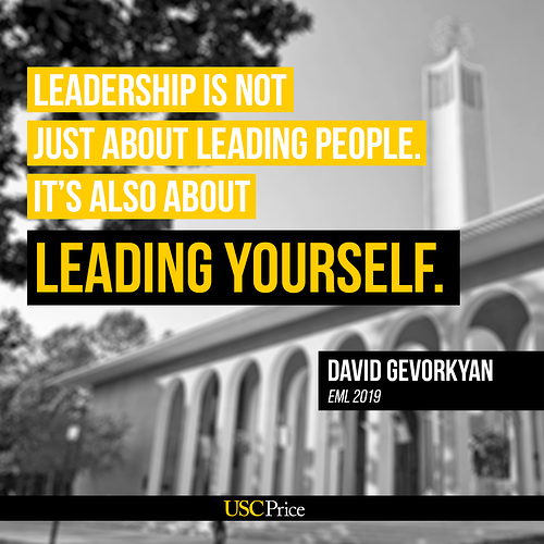 Executive leadership development training degree student David G on leading yourself.