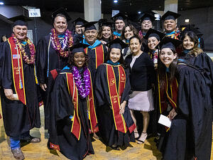 USC Sol Price School of Public Policy Executive Master of Leadership graduates at the 2019 commencement ceremony.