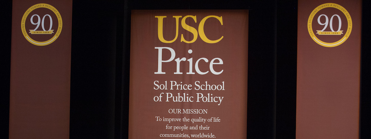 USC Sol Price School of Public Policy banner at the 2019 commencement ceremony.